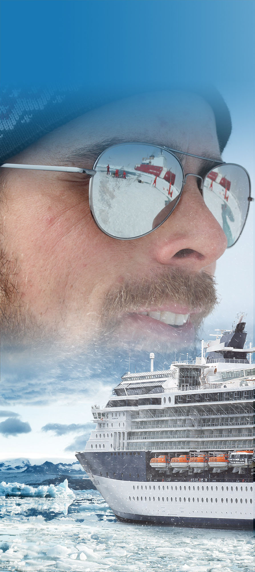 ADAC Side Banner - Man with sunglasses juxtaposed against cruise ship in ice field